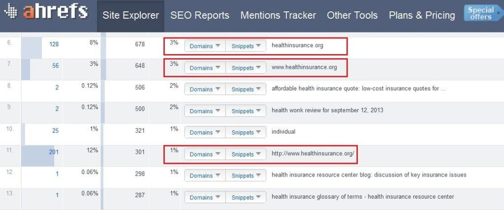 screenshot from Ahrefs.com showing links to healthinsurance.org website