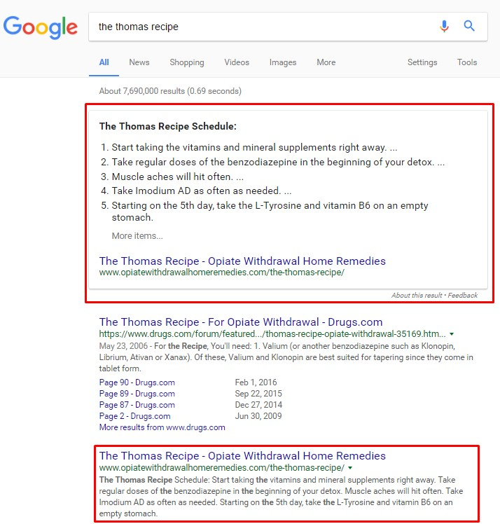 SERP of search 'the thomas recipe'
