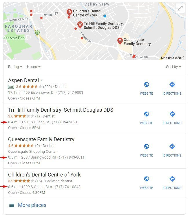 SERP of local dentist listings