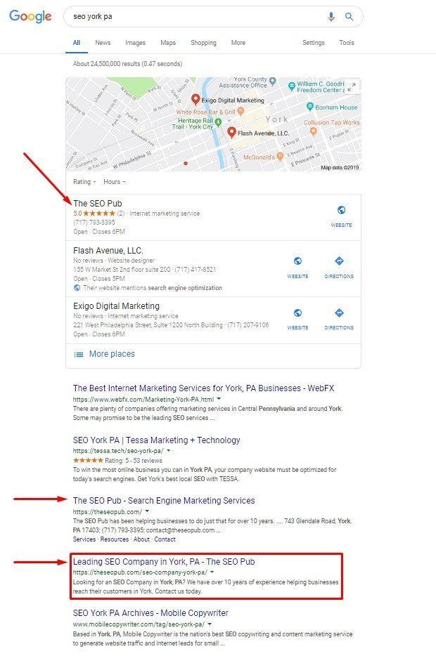 Local landing page in SERP