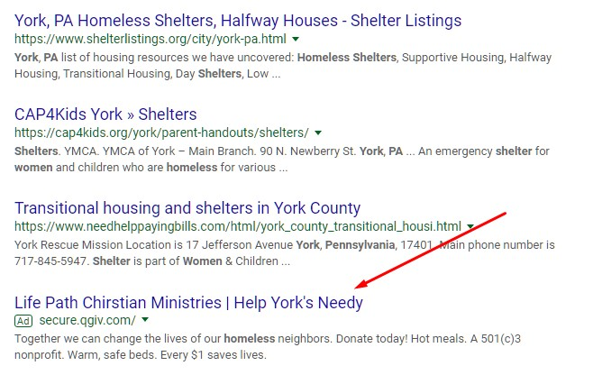 ad example for nonprofits