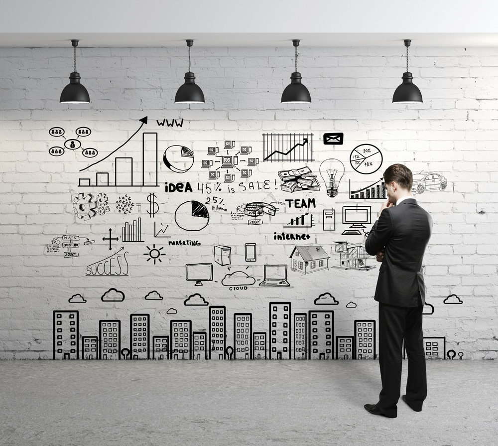 business concept on a wall
