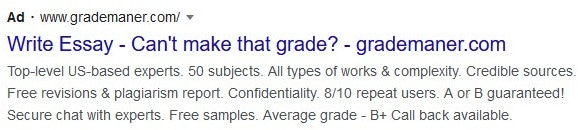 Google Ads example asking a question in the headline