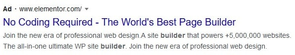 Google Ads example with a headline designed to calm a buyer's fear