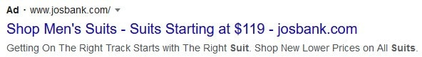 example of Google Ads headline giving a reason to buy today
