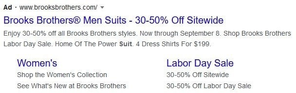 example of Google Ad using a headline to encourage someone to click or buy today