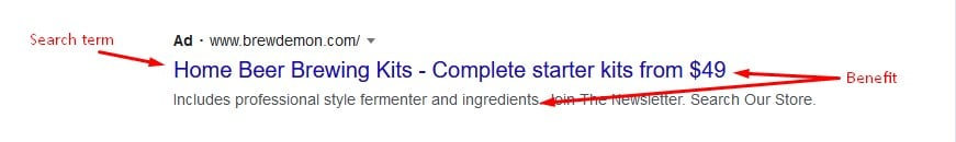 Google Ads example for homebrewing kits