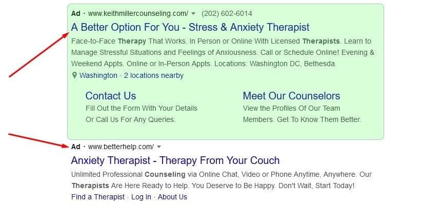 example of Google Ad targeting a competitor